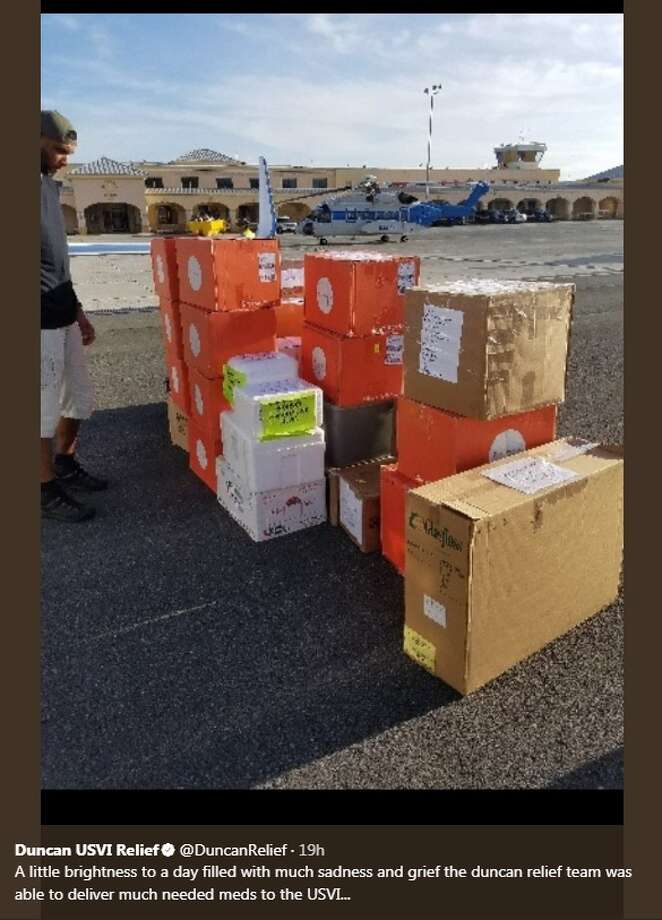 "@DuncanRelief: ""A little brightness to a day filled with much sadness and grief the duncan relief team was able to deliver much needed meds to the USVI..."" Photo: Twitter/@DuncanRelief"