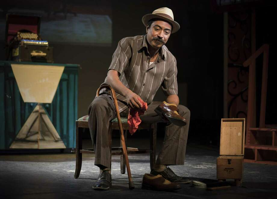 """Nicolas Valdez rehearses his play, """"Conjunto Blues"""" at the Guadalupe Theater, where he cut his teeth as a young performer as a member of the Grupo Animo troupe. Photo: Darren Abate / For The Express-News"""