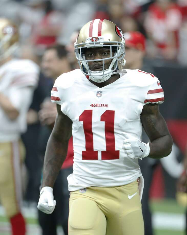 San Francisco 49ers wide receiver Marquise Goodwin (11) before an NFL football game against the Arizona Cardinals, Sunday, Oct. 1, 2017, in Glendale, Ariz. (AP Photo/Rick Scuteri) Photo: Rick Scuteri, Associated Press