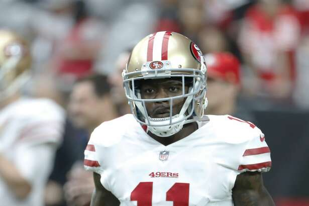 San Francisco 49ers wide receiver Marquise Goodwin (11) before an NFL football game against the Arizona Cardinals, Sunday, Oct. 1, 2017, in Glendale, Ariz. (AP Photo/Rick Scuteri)