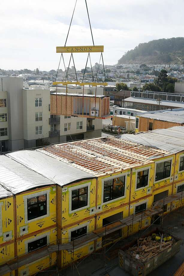 A 136-unit rental modular housing project takes place in the Bayview in San Francisco, Calif., on Monday, September 28, 2015.  San Francisco, home to arguably the most expensive housing market in the country, nearly doubled its historic average number of homebuilding permits in 2017, a new study found. Photo: Liz Hafalia, The Chronicle