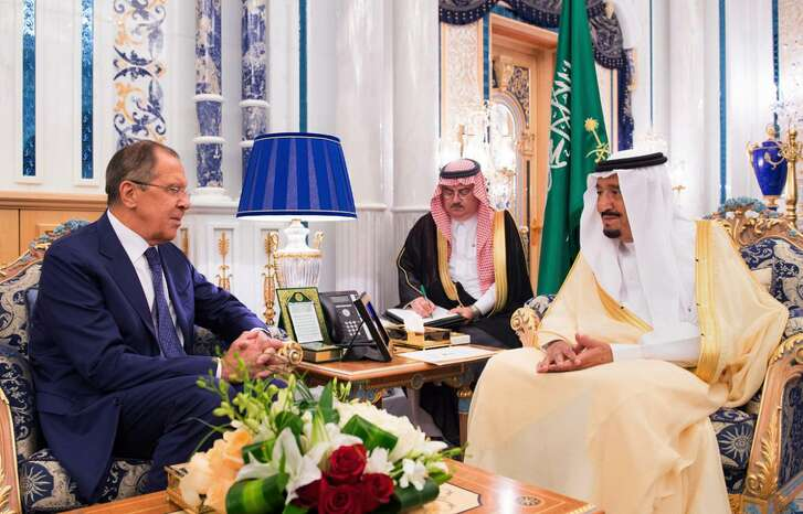 Saudi King Salman (right) receives the Russian Foreign Minister Sergey Lavrov at Al-Salam Palace in Jiddah, Saudi Arabia on Sept. 10. OPEC's biggest crude producer is considering investing in Russia's largest oil drilling contractor according to officials with knowledge of the private talks.