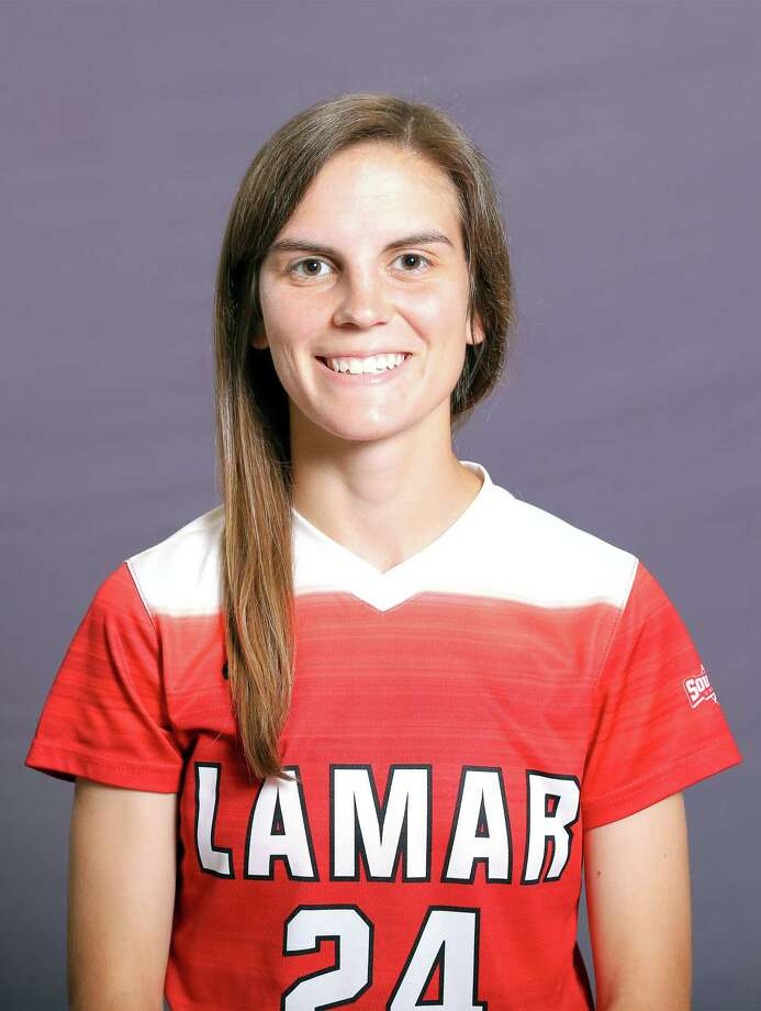 Lamar University midfielder M.J. Eckart. (Photo provided by Lamar Athletics) / DotsOfLight.info & Jeff Kellum