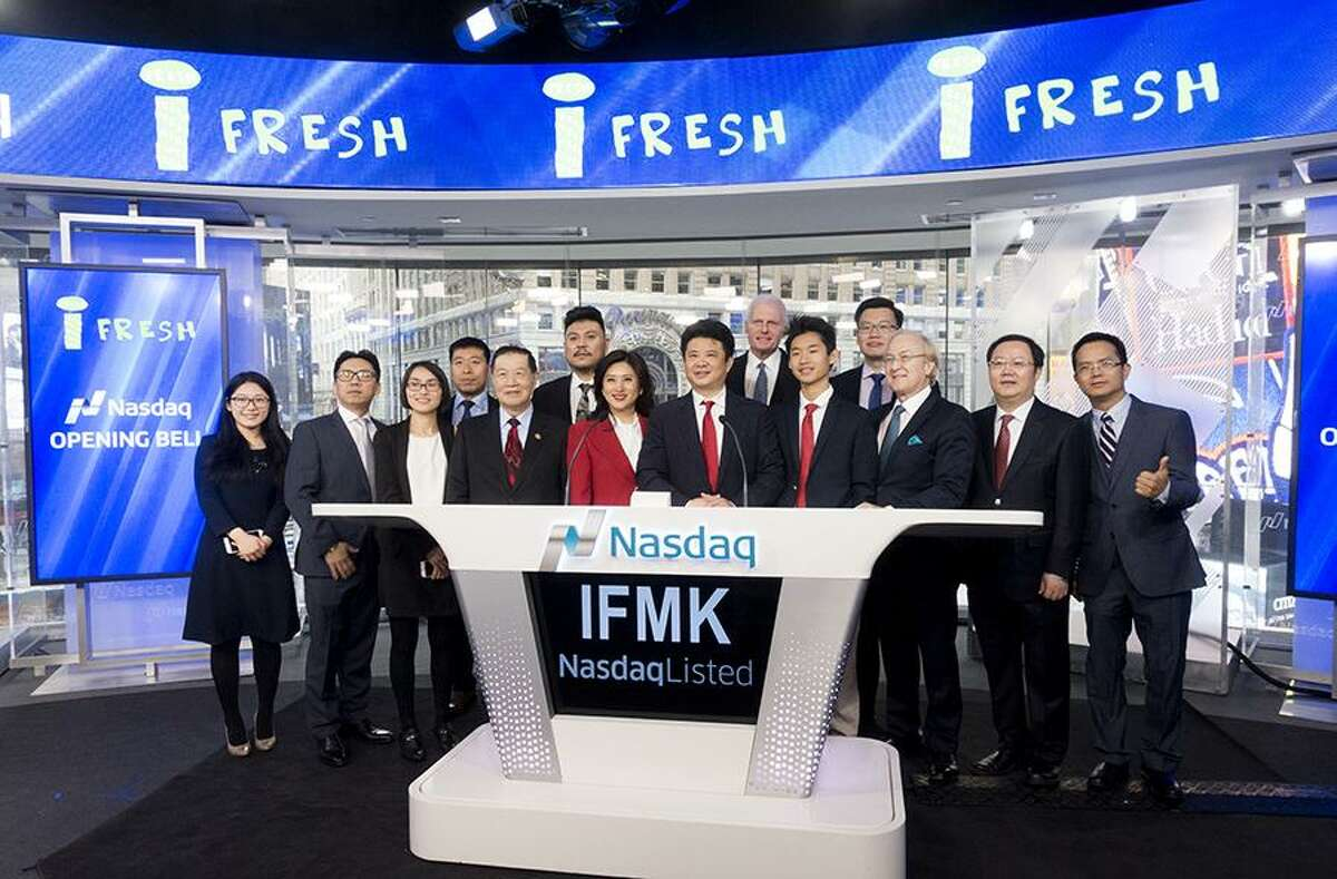 Executives of New York City-based iFresh mark the opening of the Nasdaq on Feb. 14, 2017.
