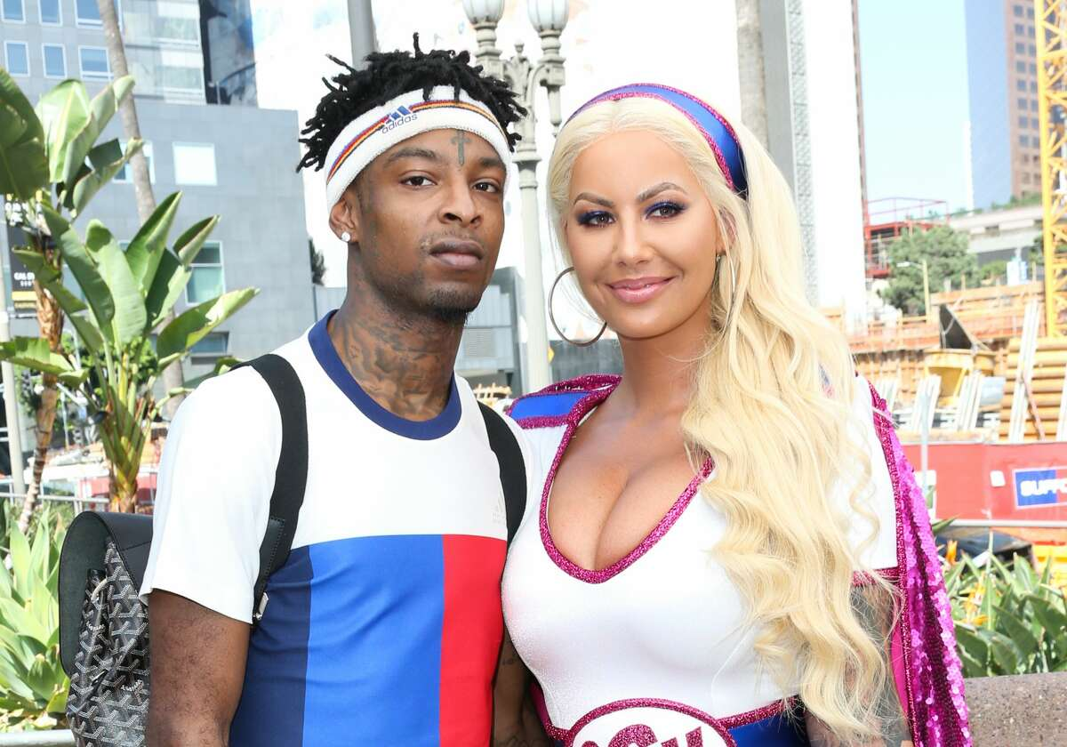 Rapper 21 Savage and model Amber Rose attend the third annual Amber Rose SlutWalk in Los Angeles, California.