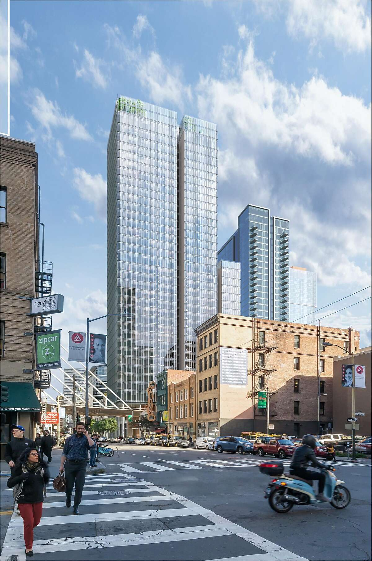 A rendering of the 37-story 555 Howard St., which would include condominiums, a hotel and a public rooftop terrace. Construction of the tower designed by Renzo Piano Building Workshop in collaboration with Mark Cavagnero Associates Architects is set to begin in the spring of 2018.