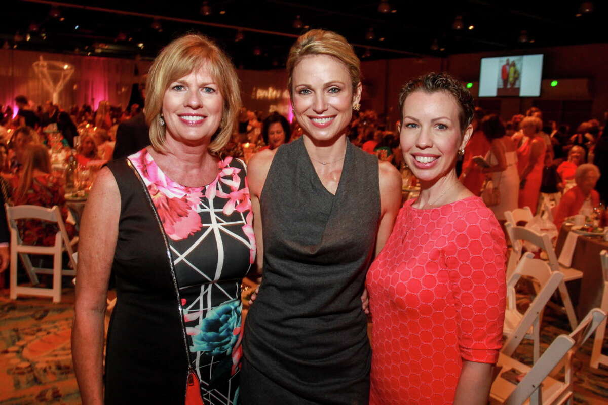"""Ruth Hiller, from left, keynote speaker Amy Robach, and Mandi Roach at the Memorial Hermann """"In the Pink of Health"""" luncheon. (For the Chronicle/Gary Fountain, September 29, 2017)"""