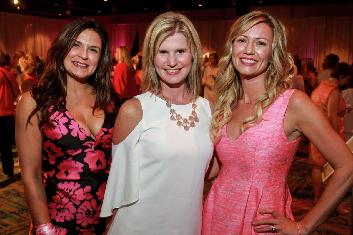 """Tammy Leigh, from left, Kristy Villarreal and Danielle Spake at the Memorial Hermann """"In the Pink of Health"""" luncheon. (For the Chronicle/Gary Fountain, September 29, 2017)"""