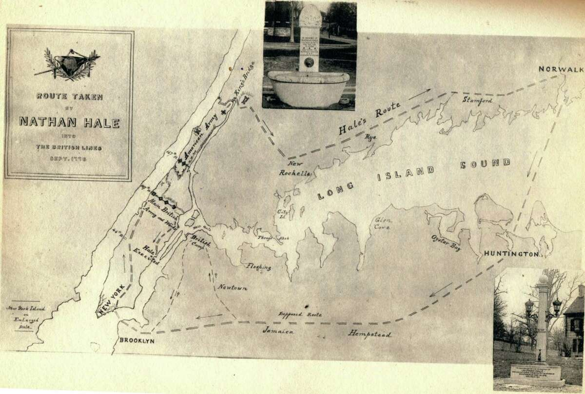 A map of Nathan Hale's route during his final spy mission shows an image of the Nathan Hale Memorial Fountain in Norwalk.
