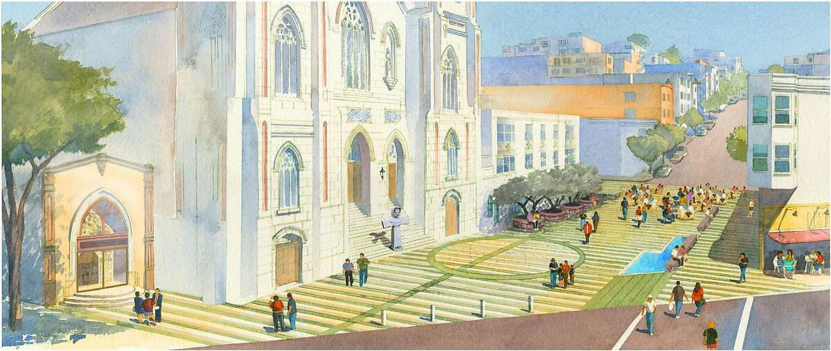 """Rendering othe """"Piazza St. Francis, the Poet's Plaza"""" that Angela Alioto wants to build on the block of Vallejo Street between Grant Avenue and Columbus Avenue in North Beach in San Francisco"""