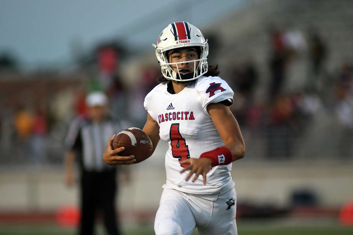 Atascocita senior quarterback Jack Roe runs for yardage against the Kingwood defense during the first quarter of their district opener at Turner Stadium in Humble on Sept. 29, 2017. (Photo by Jerry Baker/Freelance)