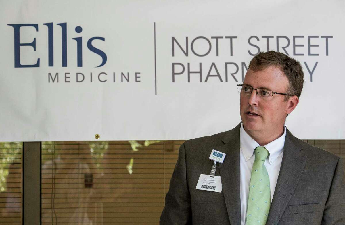 Michael Derbyshire, business manager of the new Nott Street Pharmacy which opened today addresses the small assembly of politicians and hospital workers Tuesday Oct. 3, 2017 at the Ellis Hospital in Schenectady, N.Y. (Skip Dickstein/Times Union)