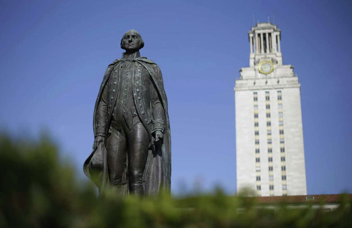 A statue of George Washington stands near the University of Texas Tower at the center of campus in 2012. A 2017 study found that the median family income at UT Austin is more than $120,000, when the state median income was around $56,000.
