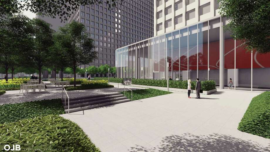 A wide-open plaza on Smith Street invites the public into the Acre, a new park built by Brookfield between One and Two Allen Center. Photo: Office Of James Burnett / copyright OJB