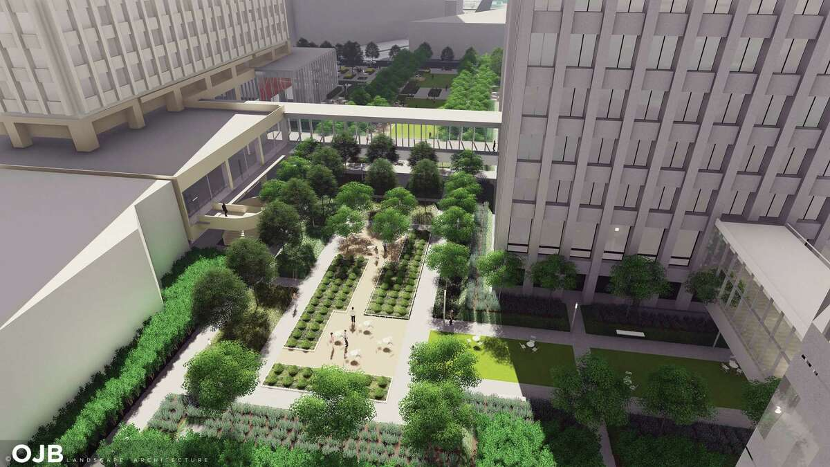An aerial illustration of The Acre, a new park within the one-acre greenspace between One and Two Allen Center in Downtown Houston.