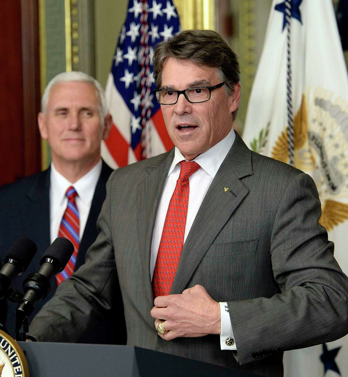 Rick Perry speaks after being sworn in as secretary of energy on Thursday, March 2, 2017 in Washington, D.C. (Olivier Douliery/Abaca Press/TNS)