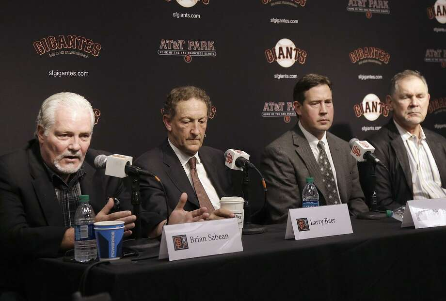 Giants executive vice president Brian Sabean (left), CEO Larry Baer, general manager Bobby Evans and manager Bruce Bochy meet with the media for a postmortem on the 2017 season and a look to 2018. Photo: Jeff Chiu / Associated Press / Copyright 2017 The Associated Press. All rights reserved.