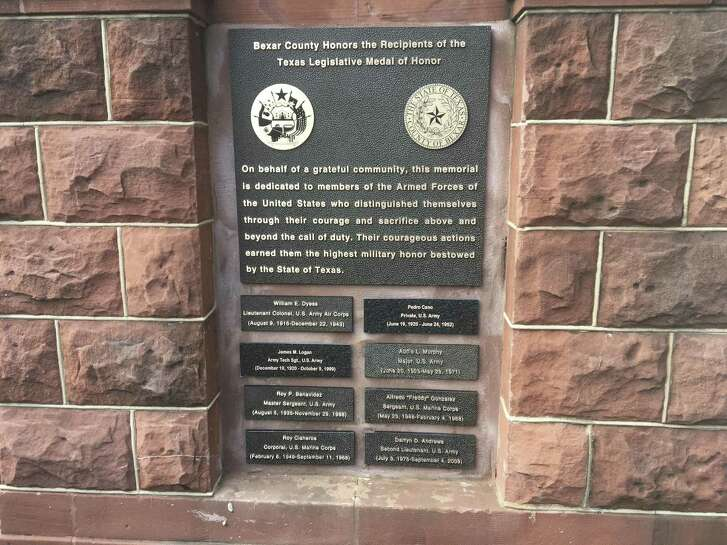 The memorial contains the names of eight medal recipients, each with ties to Bexar County or South Central Texas.