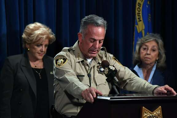 LAS VEGAS, NV - OCTOBER 02:  Clark County Sheriff Joe Lombardo (C), flanked by Las Vegas Mayor Carolyn Goodman (L) and U.S. Rep. Dina Titus (D-NV), speaks during a news conference at the Las Vegas Metropolitan Police Department headquarters to brief members of the media on a mass shooting on October 2, 2017 in Las Vegas, Nevada. A lone gunman opened fire on the Route 91 Harvest country music festival on October 1, leaving 59 dead and hundreds wounded.  (Photo by Ethan Miller/Getty Images) *** BESTPIX ***