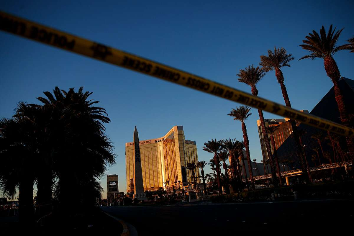 LAS VEGAS, NV - OCTOBER 3: Police tape blocks off part of Las Vegas Blvd. near the scene of Sunday night's mass shooting at a concert near Mandalay Bay Resort and Casino, October 3, 2017 in Las Vegas, Nevada. The gunman, identified as Stephen Paddock, 64, of Mesquite, Nevada, allegedly opened fire from a room on the 32nd floor of the Mandalay Bay Resort and Casino on the music festival, leaving at least 58 people dead and over 500 injured. According to reports, Paddock killed himself at the scene. The massacre is one of the deadliest mass shooting events in U.S. history. (Photo by Drew Angerer/Getty Images)