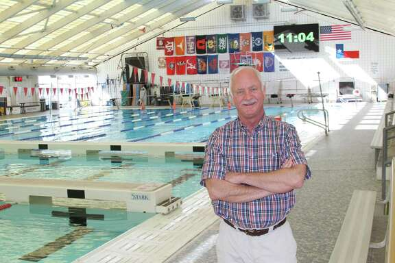 George Block at the Northside ISD swimming and diving facility that bears his name -- the George Block Aquatics Center.