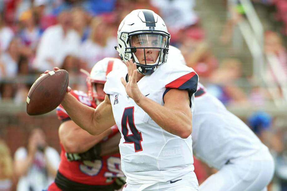 Bryant Shirreffs is the first UConn quarterback to pass for more than 400 yards in back to back games and his 814 passing yards in the last two games in the best two-game total in program history. Photo: Cooper Neill / Getty Images / 2017 Getty Images