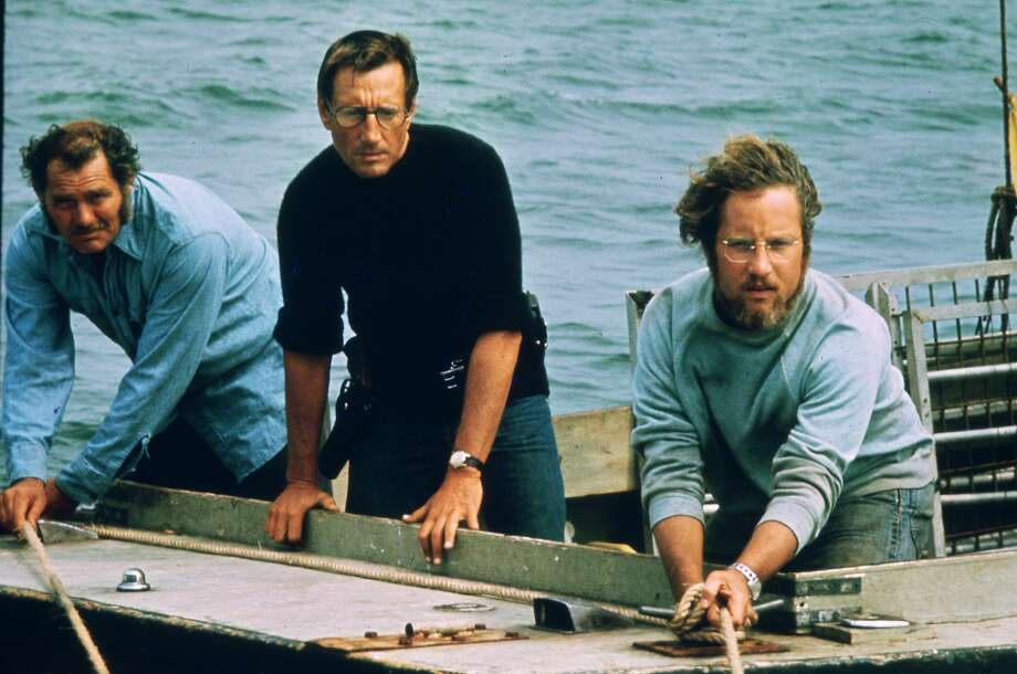 """JAWS --  L-R--Robert Shaw, Roy Scheider, Richard Dreyfuss.  HOUCHRON CAPTION (06/17/2005) SECSTAR COLORFRONT:  THE FINAL TEAM: Robert Shaw, left, Roy Scheider and Richard Dreyfuss were not the first choices for the roles in """"Jaws,"""" but today can you imagine anyone else in those roles? Photo: Universal Pictures"""