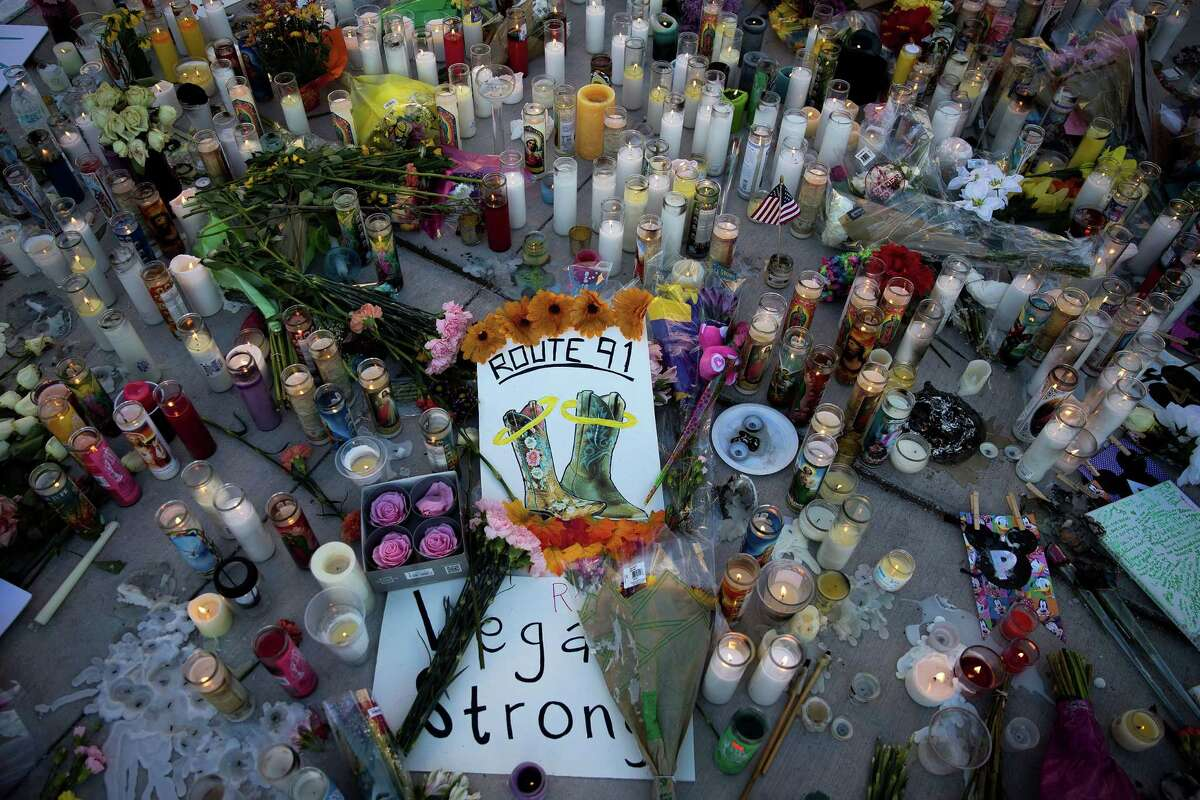 A makeshift memorial for the victims of Sunday night's mass shooting stands at an intersection of the north end of the Las Vegas Strip, (Photo by Drew Angerer/Getty Images)