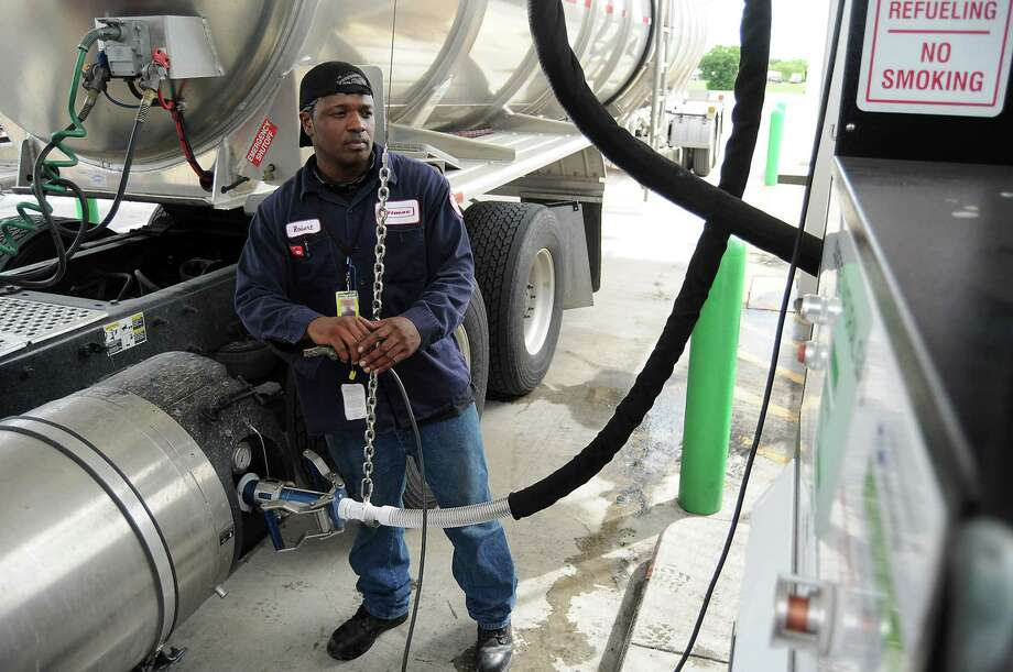 Trimac Transportation driver Robert Williams used the liquified natural gas lane to fill his truck at the Flying J on I-10 East in Baytown recently. Pilot Flying J has more than 750 locations across North America. Photo: Dave Rossman, Freelancer / © 2012 Dave Rossman