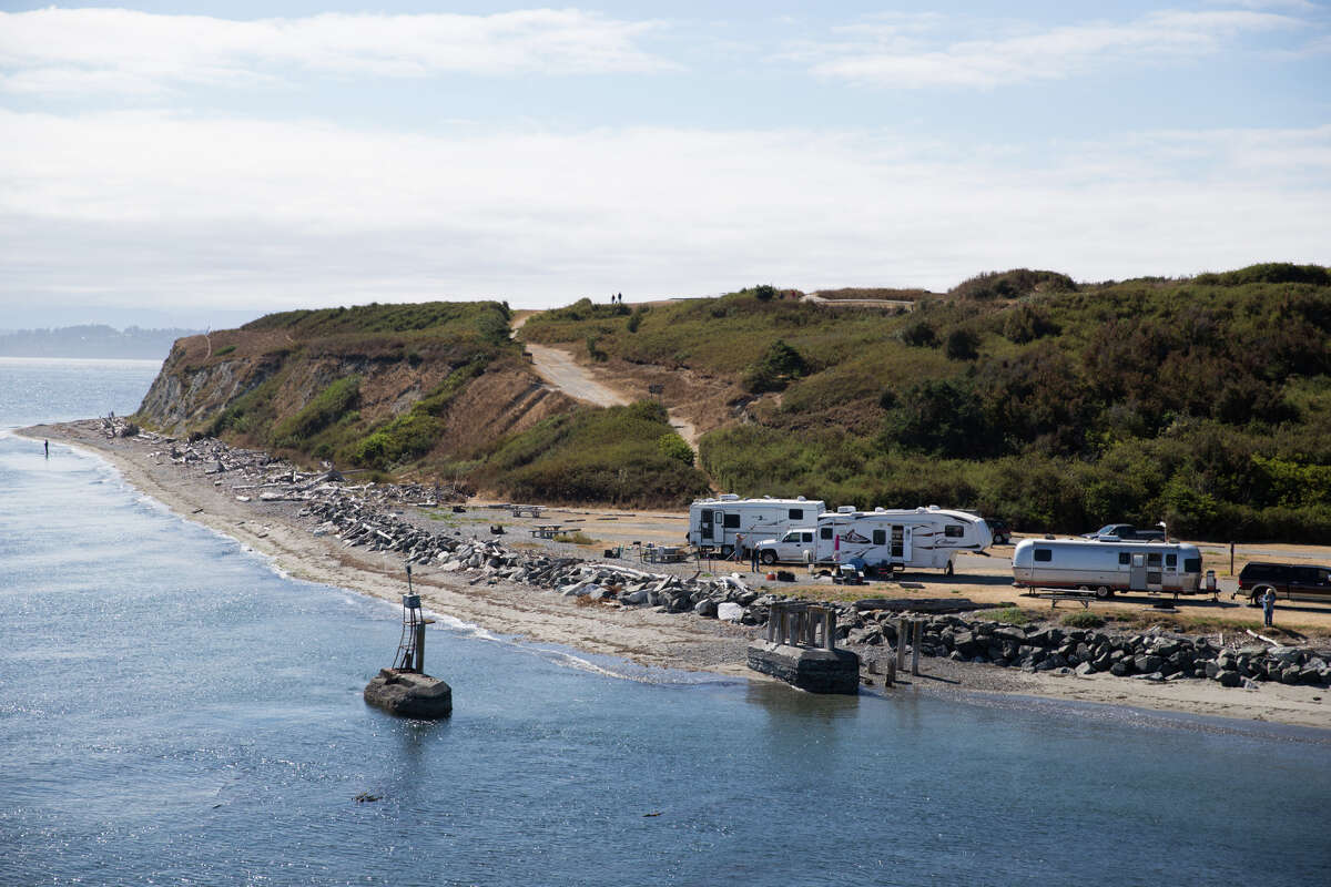 Campers' RV sit near the water at Fort Casey Historical Park on Whidbey Island on Aug. 31, 2017.