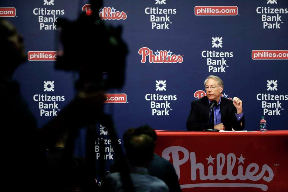 Philadelphia Phillies president Andy MacPhail speaks with members of the media during a news conference in Philadelphia, Tuesday, Oct. 3, 2017. (AP Photo/Matt Rourke) Photo: Matt Rourke, STF / Copyright 2017 The Associated Press. All rights reserved.