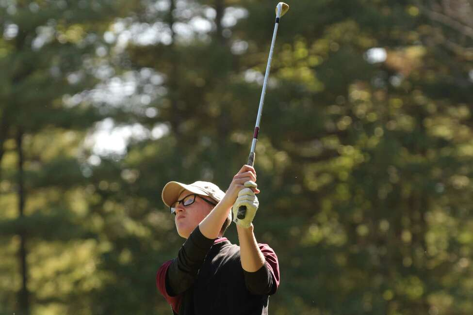Adam Desorbo of Fonda Fultonville High School watches his tee shot during the Section II golf championships at McGregor Links on Tuesday, Oct. 3, 2017, in Wilton, N.Y. (Paul Buckowski / Times Union)