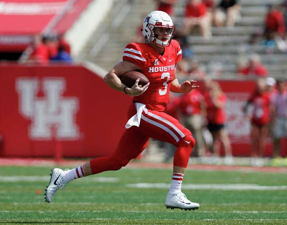 Houston Cougars quarterback Kyle Postma (3) scrambles in the fourth quarter during the NCAA football game between the Texas Tech Red Raiders and the Houston Cougars at TDECU Stadium in Houston, TX on Saturday, September 23, 2017. Photo: Tim Warner, Freelance / Houston Chronicle