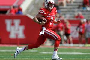 Houston Cougars quarterback Kyle Postma (3) scrambles in the fourth quarter during the NCAA football game between the Texas Tech Red Raiders and the Houston Cougars at TDECU Stadium in Houston, TX on Saturday, September 23, 2017.