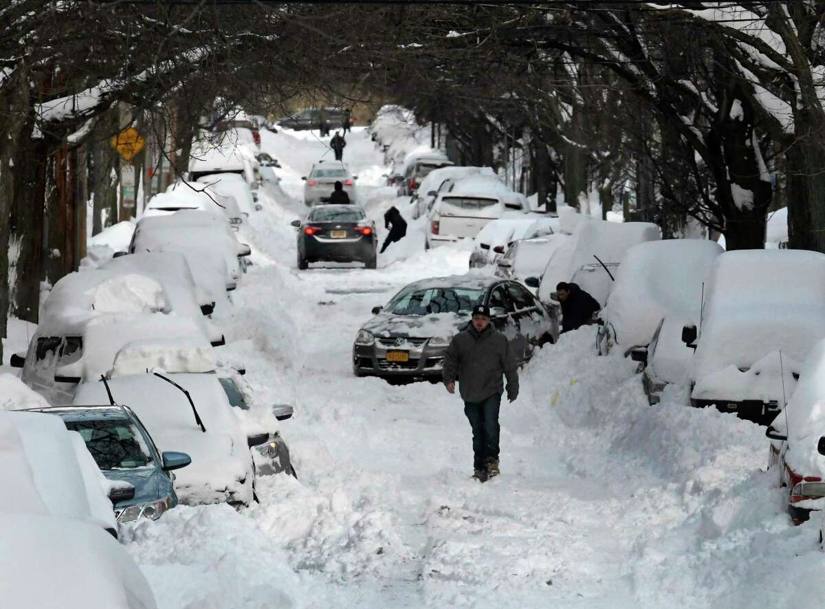 2016-17: 60.8 inches. And it didn't start falling until mid-February, including a whopper of a storm in March leaving Albany residents to dig out cars on Lancaster Street in Albany.