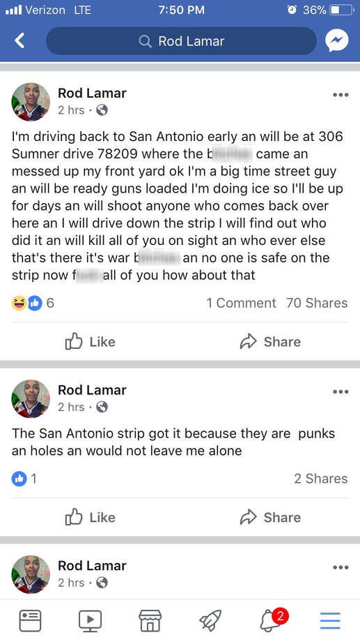 San Antonio police say they are investigating threats made to a strip in San Antonio.