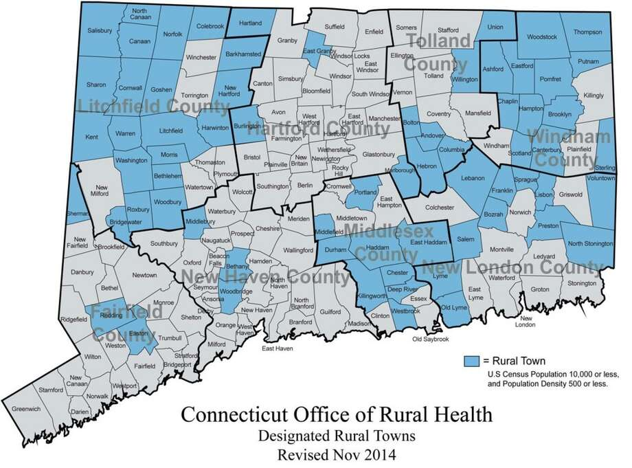"In Connecticut, 68 out of 169 municipalities are classified as ""rural"" based on total population and the number of people per square mile. About 9 percent of the state's population lives in these rural towns. Photo: Connecticut Office Of Rural Health Graphic"