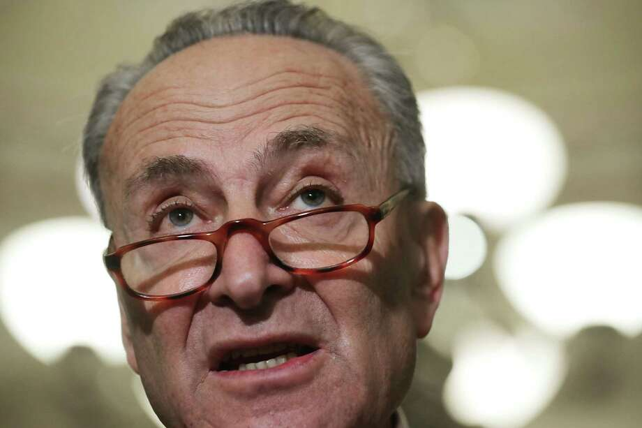 Senate Minority Leader Charles Schumer (D-NY) speaks to reporters following the weekly Senate Democratic policy luncheon at the U.S. Capitol October 3, 2017 in Washington, DC. Schumer was critical of the proposed Republican tax reform plan. Photo: Chip Somodevilla / 2017 Getty Images