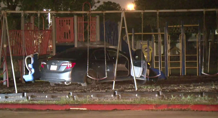 Three men were arrested following a police chase ending in a car wreck in a playground. Photo: Metro Video
