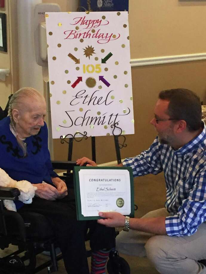 Village Crest Center for Health & Rehabilitation in New Milford recently helped celebrate the 105th birthday of one of its residents, Ethel Schmitt. During the celebration, Schmitt was given a special certificate, presented by New Milford Mayor David Gronbach, and enjoyed desserts with staff and residents. Photo: Courtesy Of Village Crest Center For Health & Rehabilitation / The News-Times Contributed
