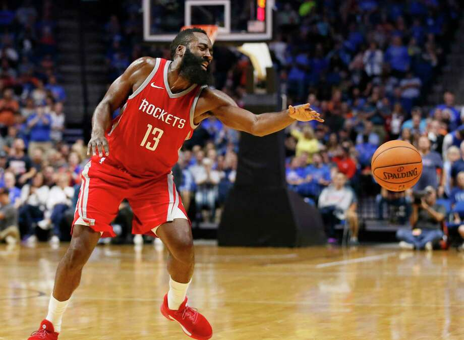 Houston Rockets guard James Harden loses the ball during the second quarter of an NBA preseason basketball game against the Oklahoma City Thunder in Tulsa, Okla., Tuesday, Oct. 3, 2017. (AP Photo/Sue Ogrocki) Photo: Sue Ogrocki, Associated Press / AP2017