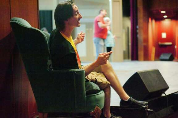 "Bill Lundgren perfects his character, ""man in chair"" during rehearsal of ""The Drowsy Chaperone"" Tuesday, Sep. 26."
