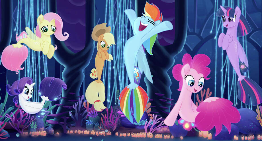 "(L-r): Fluttershy (Andrea Libman), Rarity (Tabitha St. Germain), Applejack (Ashleigh Ball), Rainbow Dash (Ashleigh Ball), Pinkie Pie (Andrea Libman) and Twilight Sparkle (Tara Strong) in ""My Little Pony: The Movie."" Photo: Lionsgate And Hasbro /  Lionsgate and Hasbro"