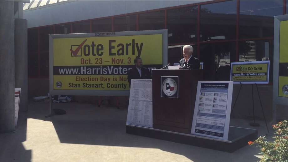 Harris County Clerk Stan Stanart advocates 2017 early voting because of displaced voters and damaged polling sites due to Hurricane Harvey on Wednesday, Oct. 4, 2017, outside the Metropolitan Multi-Service Center on West Gray in Houston. Photo: Cindy George ,  Houston Chronicle