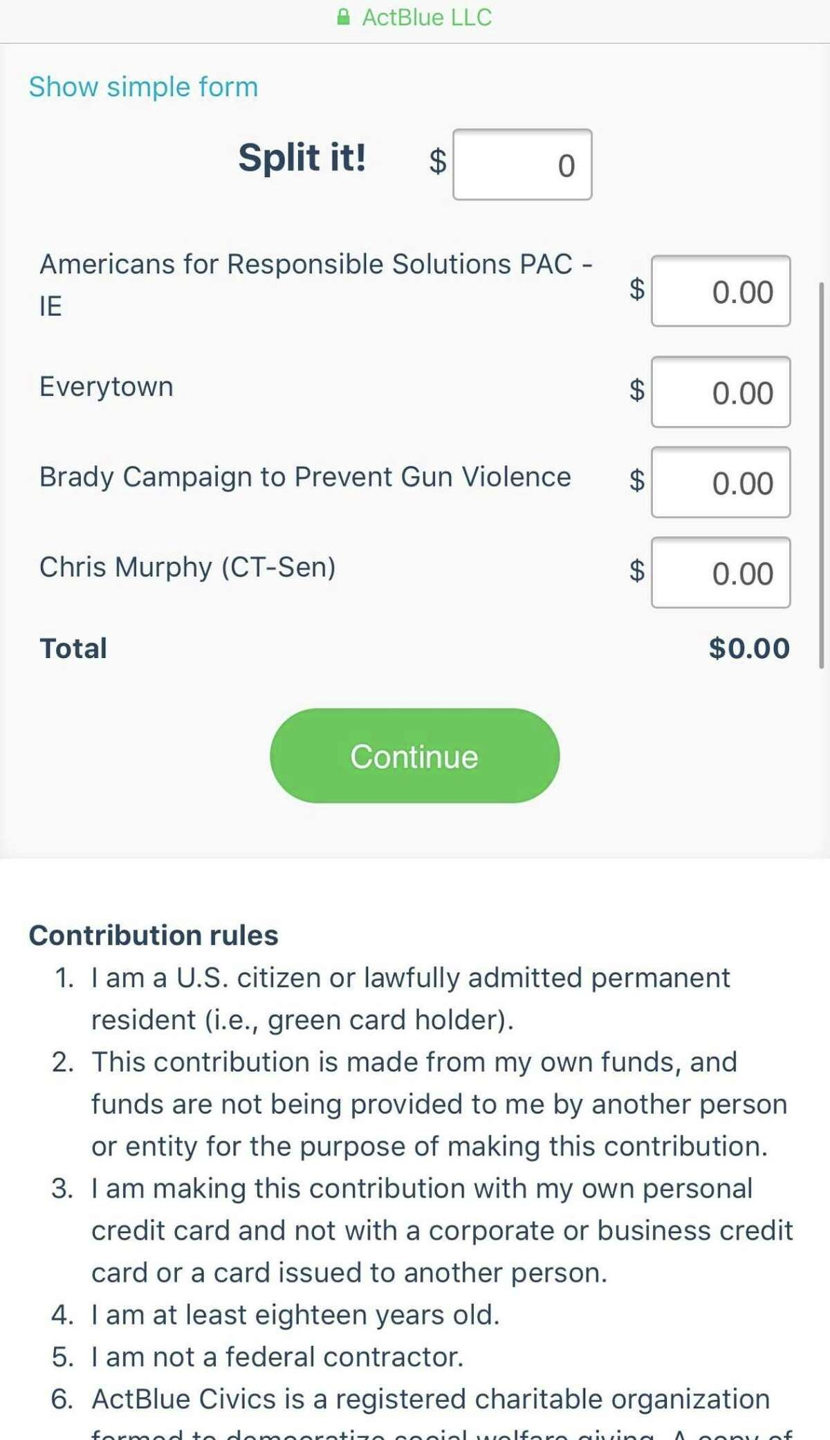 A fundraising link sent by Chris Murphy to his supporters urging them to give money to gun control groups after the Las Vegas massacre also allowed them to earmark funds for the Democrat's 2018 Senate re-election campaign. Oct. 3, 2017.
