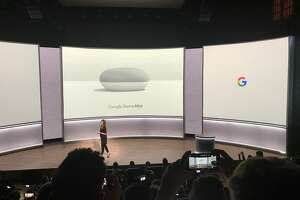 Google introduces the $49 Google Home Mini, a less expensive smart speaker, at a product unveiling at the SFJazz Center in San Francisco on Oct. 4, 2107.