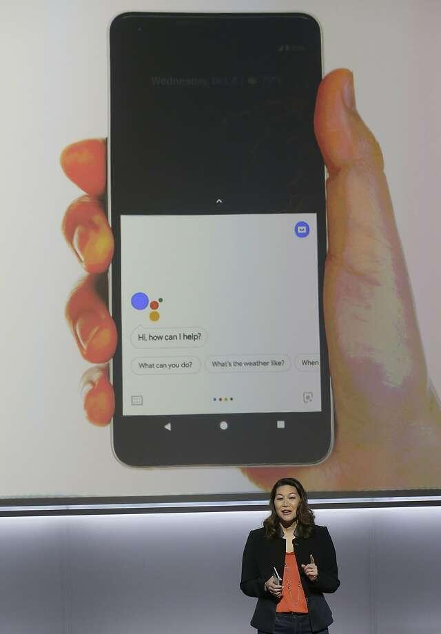 Google's Sabrina Ellis speaks about the Google Pixel 2 phones  at the SFJAZZ Center in San Francisco. Photo: Jeff Chiu, Associated Press