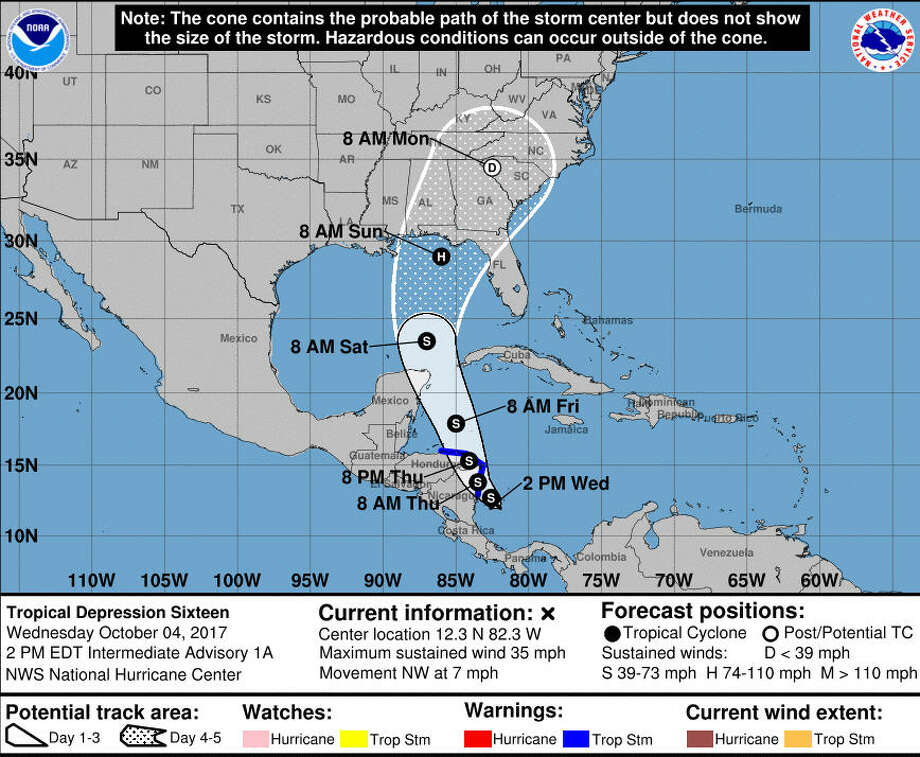 A tropical storm forming in South America is expected to hit the Gulf of Mexico by Oct.7, 2017 and could hit the Florida Panhandle the next day.See photos from Hurricane Harvey up ahead.  Photo: National Hurricane Center