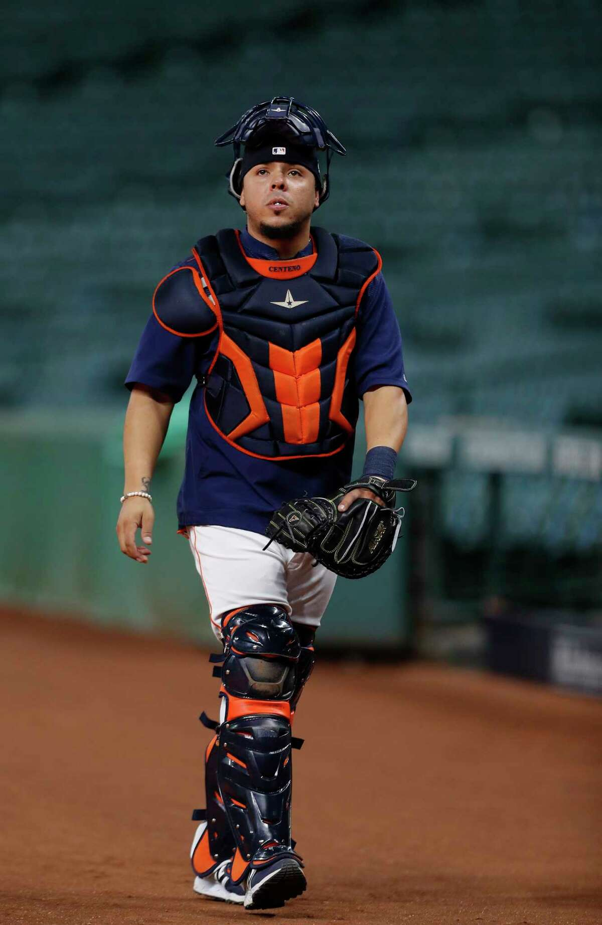 Houston Astros catcher Juan Centeno during the Houston Astros batting practice at Minute Maid Park, Tuesday, Oct. 3, 2017, in Houston, as they prepare to take on the Boston Red Sox in the ALDS playoffs.