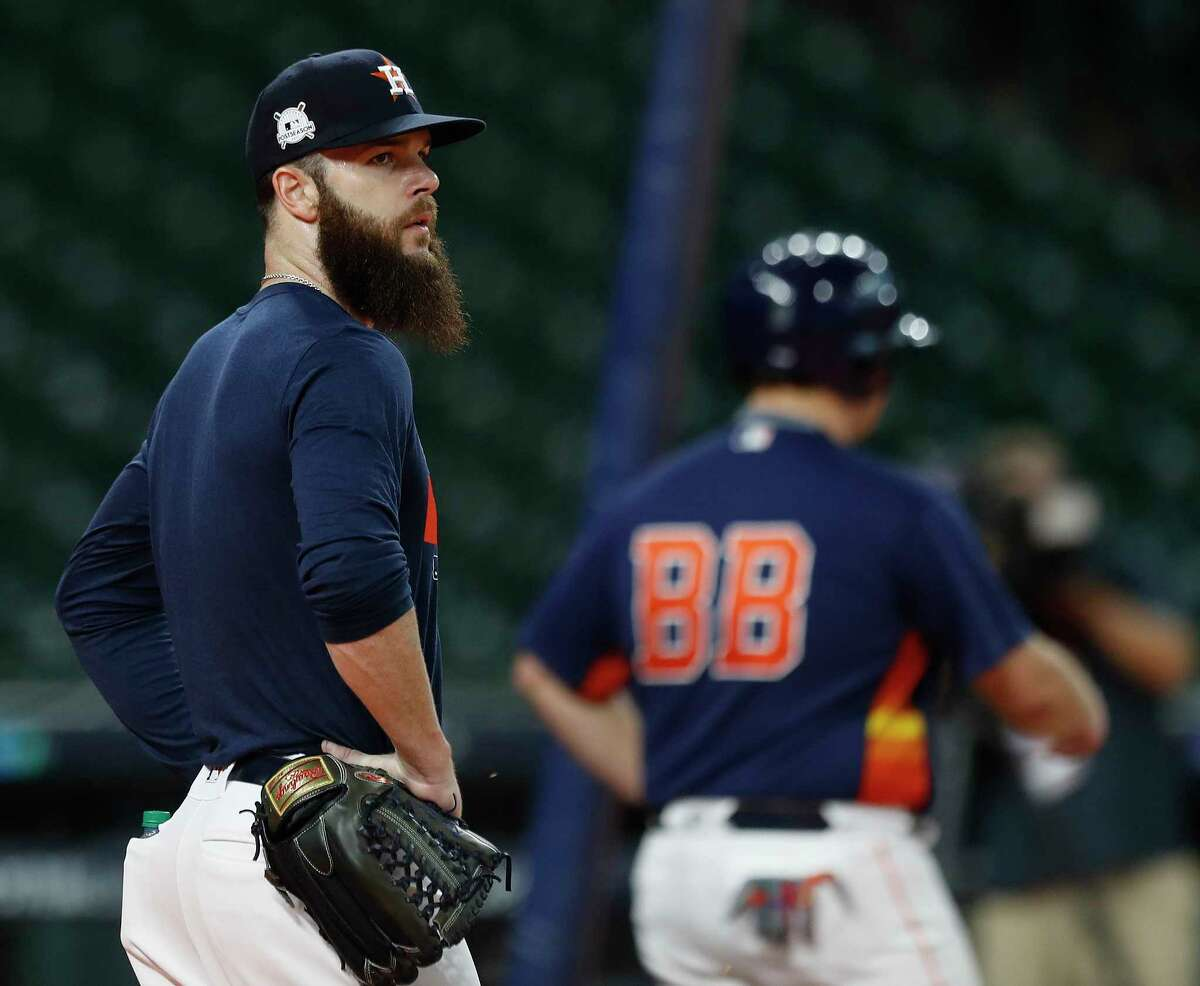 Houston Astros starting pitcher Dallas Keuchel during the Astros batting practice at Minute Maid Park, Tuesday, Oct. 3, 2017, in Houston, as they prepare to take on the Boston Red Sox in teh ALDS playoffs.